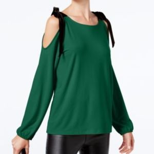 INC Black Velvet-Tie Cold-Shoulder Top